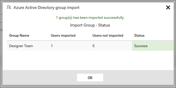 Success message after imported the Azure Active Directory groups