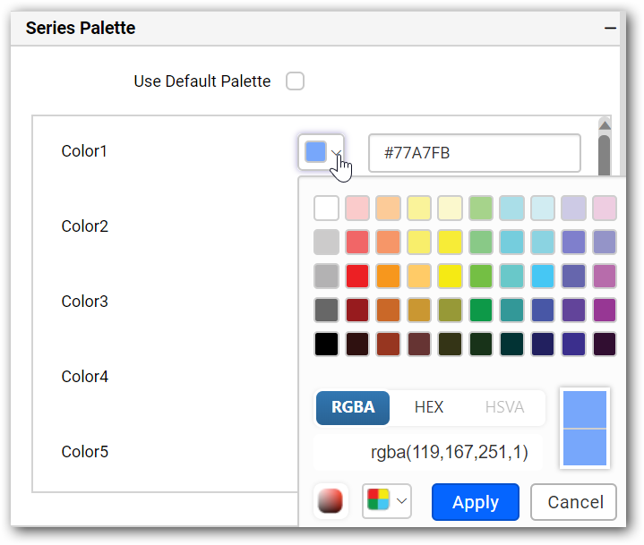 Series color palette window