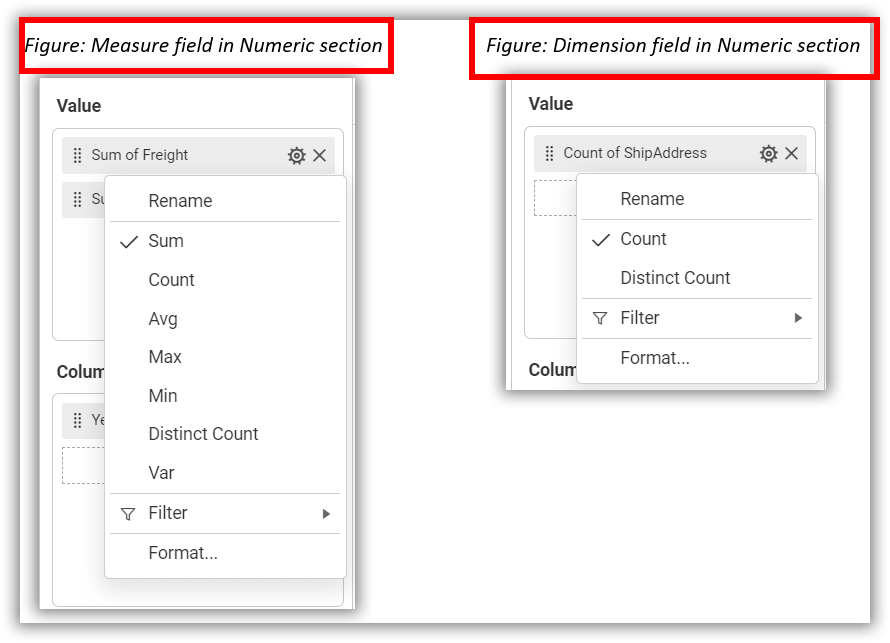 Settings Menu - Measure fields
