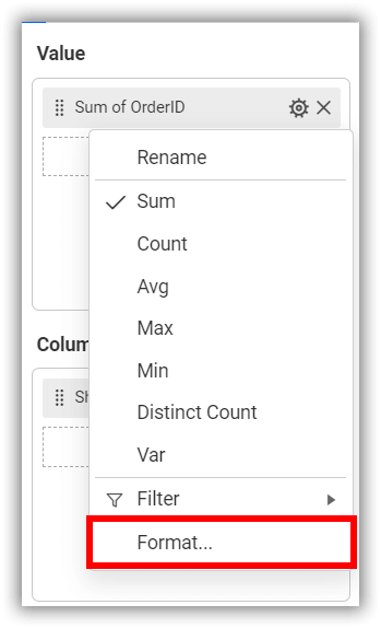 Measure formatting