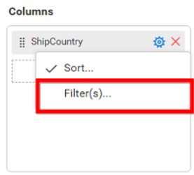 Configuring filter for dimension column