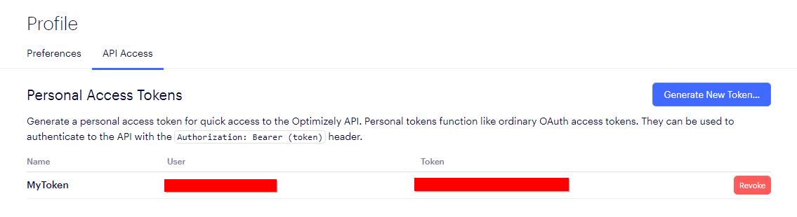 Reveal API Token