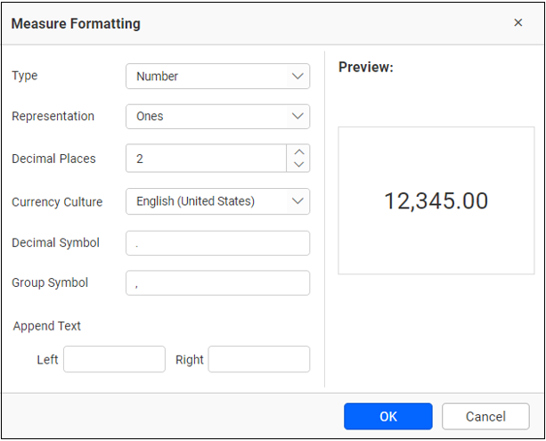 dialog for formatting the measure