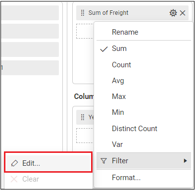 measure filtering option in settings popup