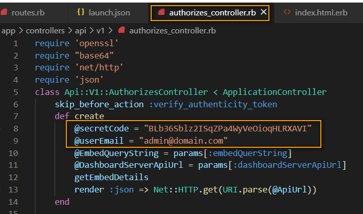 Embed Properties In Authorize Controller