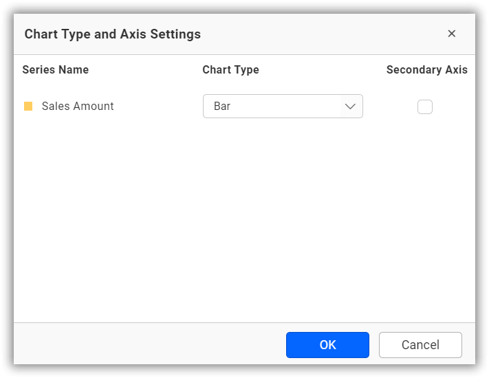 Chart type and axis settings dialog