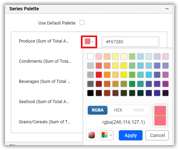 customizing the color palette