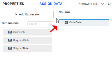dragging fields to configure data for date picker