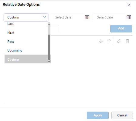 selecting custom option in relative dates window