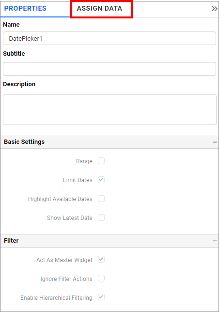 date picker assign data tab