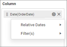 showing relative dates menu
