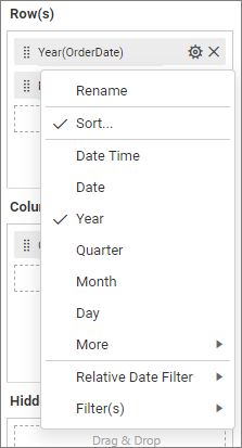 Assign Data settings menu