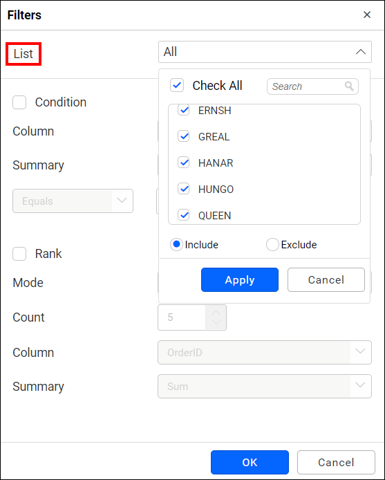 allow filtering option for dimension column
