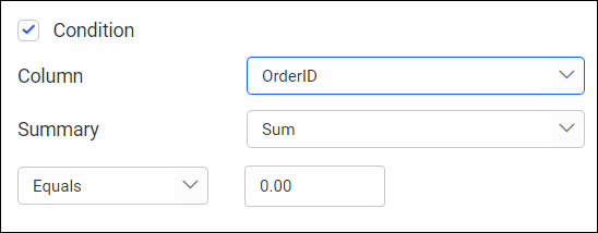 showing condition filter option of dimension filter