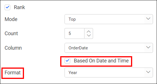 rank based dimension filter with date option