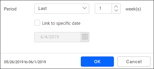 relative date filter period selection