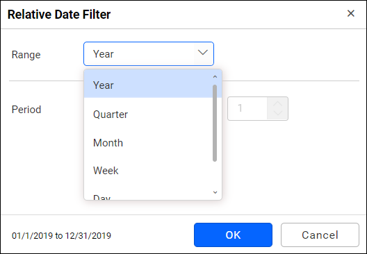 relative date filter range selection