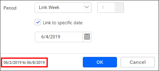 relative date filter link to specific date option